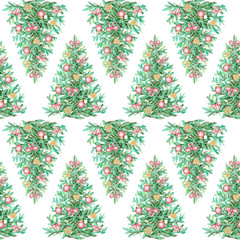 Watercolor seamless background pattern with Christmas tree