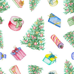 Watercolor seamless  pattern with Christmas tree and presents