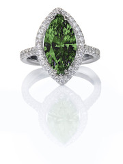 Green Emerald Beautiful Diamond Engagment ring. Gemstone Marquise cut surrounded by a halo of diamonds.
