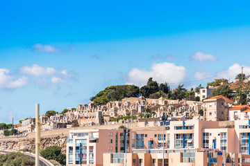View of the city cemetery, Sete, France. Copy space for text.