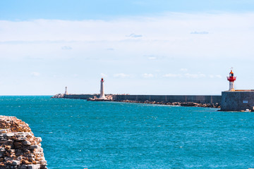 View of the port of Sete, France. Copy space for text.