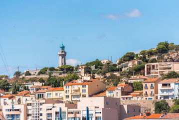 View of city buildings, Sete, France. Copy space for text.