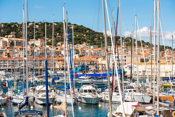 View of the port with yachts, Sete, France. Close-up.