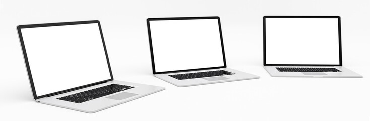 Triple modern digital silver and black laptop 3D rendering