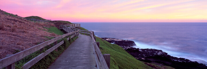 Zelfklevend Fotobehang Lichtroze Amazing sunset at the Nobbies at Philip Island, Victoria, Australia