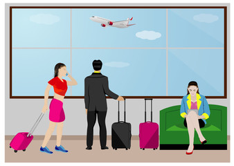 the traveler at airport vector design