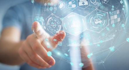 Businessman using digital medical sphere 3D rendering