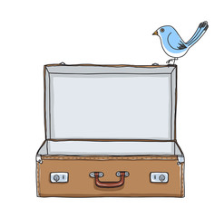 Brown Suitcase vintage empty suitcase and cute blue bird hand drawn vector art illustration