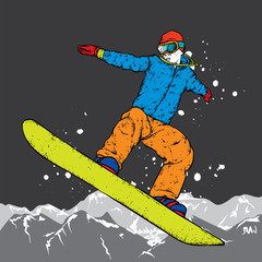 A snowboarder in colorful clothes. Vector illustration. Sports, extreme sports, outdoor activities.