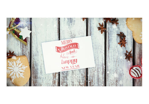 Holiday Card Mockup with Christmas Cookies and Candies in Snow