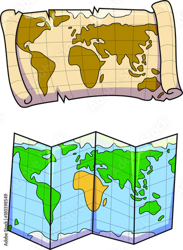 Vector illustration of an old and a new world map colorful treasure vector illustration of an old and a new world map colorful treasure hunt and fold gumiabroncs Gallery