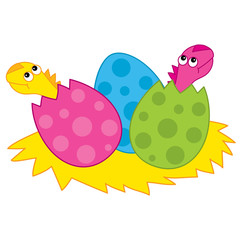 Vector Cute Cartoon Dinosaurs's Babies Hatching from Egg