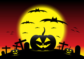 Grunge Halloween night background, illustration
