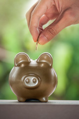 A hand putting a coin in to piggy bank, save money concept.