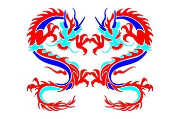 twin dragon tribal hand drawing