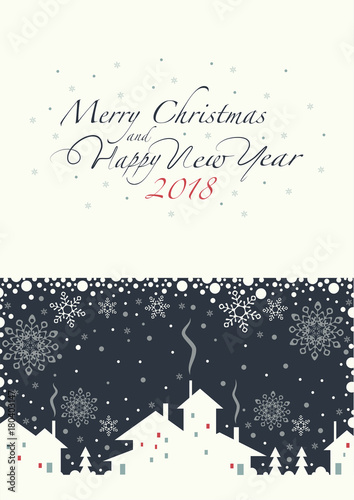 The cover design. Depicts a village. Phrase merry Christmas and a ...