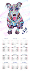 Calendar with patterned dog terrier