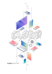 Isometric concept with thin line letters, typography word cloud with line and colorful icons