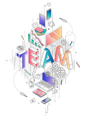 Isometric concept with thin line letters, typography word team