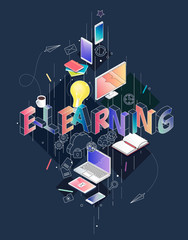 Isometric concept with thin line letters, typography word e-learning