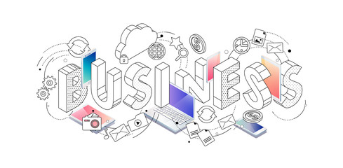 Isometric concept with thin line letters, typography word business with line and colorful icons.