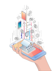Isometric concept of smartphone with mobile banking
