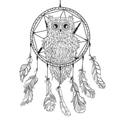 Dreamcatcher. Owl. Tattoo art, mystic symbol. Abstract feathers. Print for polygraphy and textiles. American Indians symbol. Design for spiritual relaxation for adults. Zen art. Decorative style