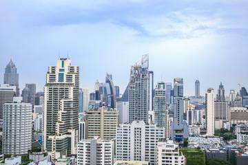 Bangkok city buildings Thailand with blue sky