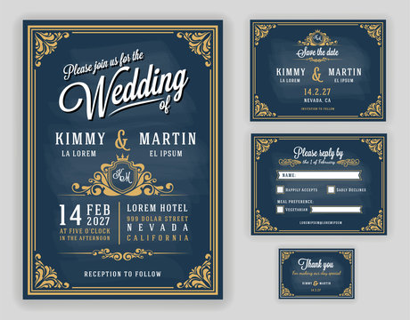 Vintage luxurious wedding invitation on chalkboard background