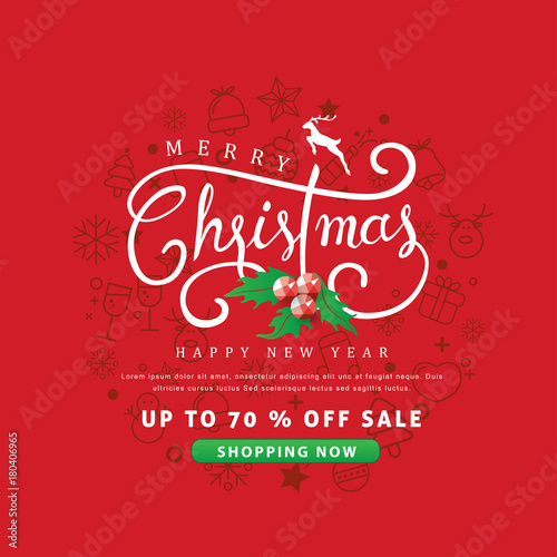 merry christmas and happy new year sale banner background with christmas icon setdiscount gift - Discount Greeting Cards
