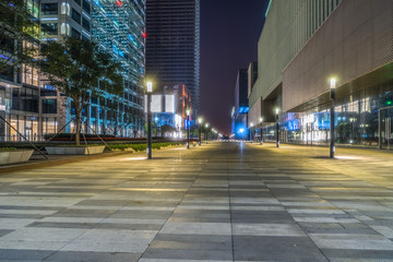 Fotomurales - city square, business financial district at night