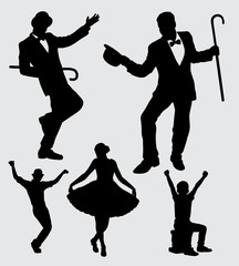 entertainer male and female action silhouette. good use for symbol, logo, web icon, mascot, sticker, sign, or any design you want.
