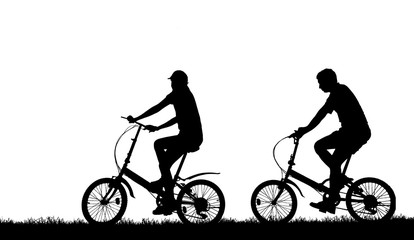 silhouette vintage bike and love couple in  the holiday on white background