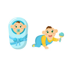 Newborn baby, children, in diaper with pacifier, crawling with rattle.