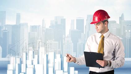 Businessman drawing skyscrapers