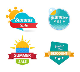 Summer sale. Design banners and discount stickers. Special offer templates.
