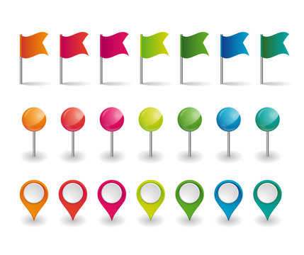 set of colorful flags, round pins and map pointers