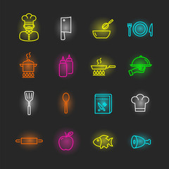 cooking neon icon set