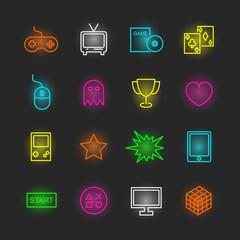 game neon icon set