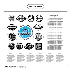 ship and globe vector icon set