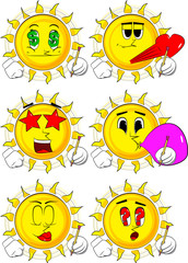 Cartoon sun writing with pencil. Collection with various facial expressions. Vector set.