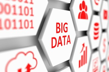 BIG DATA concept cell blurred background 3d illustration