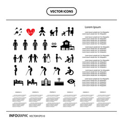 basic icon set for human life  info graphic