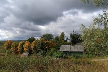 Autumn in Russian village, Yaroslavl Region.