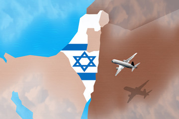 Flight to Israel illustration for a tourism business