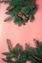 Christmas cards with place for text on the pink background with spruce branches. Decor with cones and cinnamon sticks. Flatlay