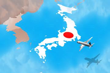 Flight to Japan illustration for a tourism business