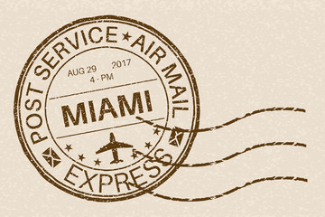 MIAMI round postmark for envelope on beige background