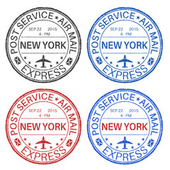NEW YORK postmarks. Set of colored ink stamps