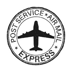 Post service EXPRESS postmark with airplane sign